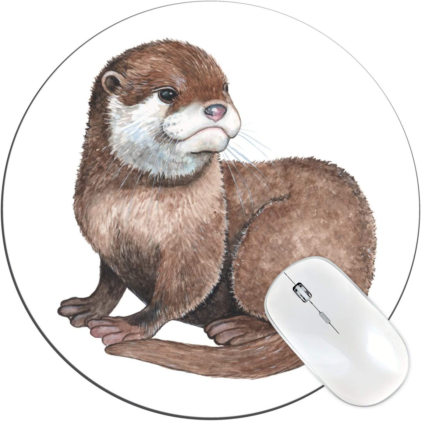 """FannyD Otter Unique 8"""" Round Mouse Pad, Low Profile (1/8"""") with Anti Slip Rubber Backing & Cloth Surface Featuring Art by Fanny Dallaire. for PC, Laptop, Mac (Otter)"""