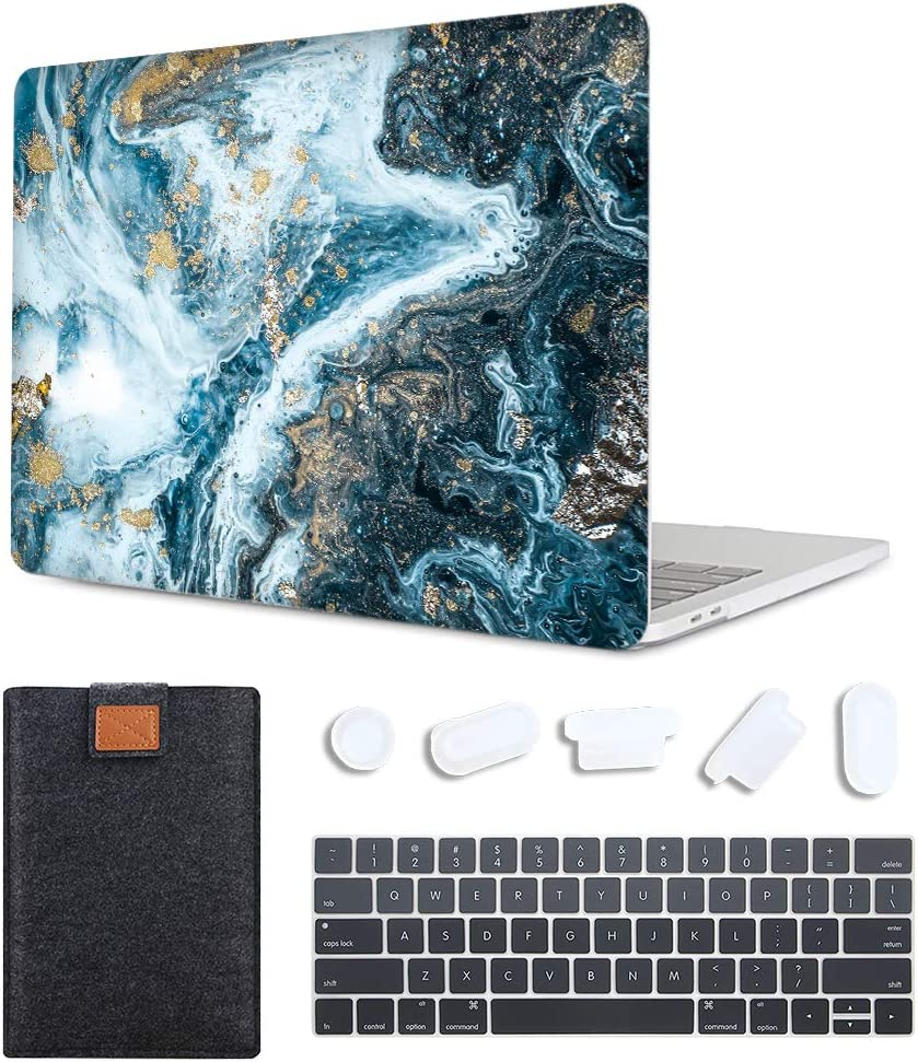 MAITTAO MacBook Pro 15 inch Case 2019 2018 2017 2016 Release, Plastic Pattern Hard Shell & Laptop Sleeve & Keyboard Cover for Mac Pro 15 A1990 A1707 Touch Bar & ID 4 in 1 Bundle, Creative Marble 1
