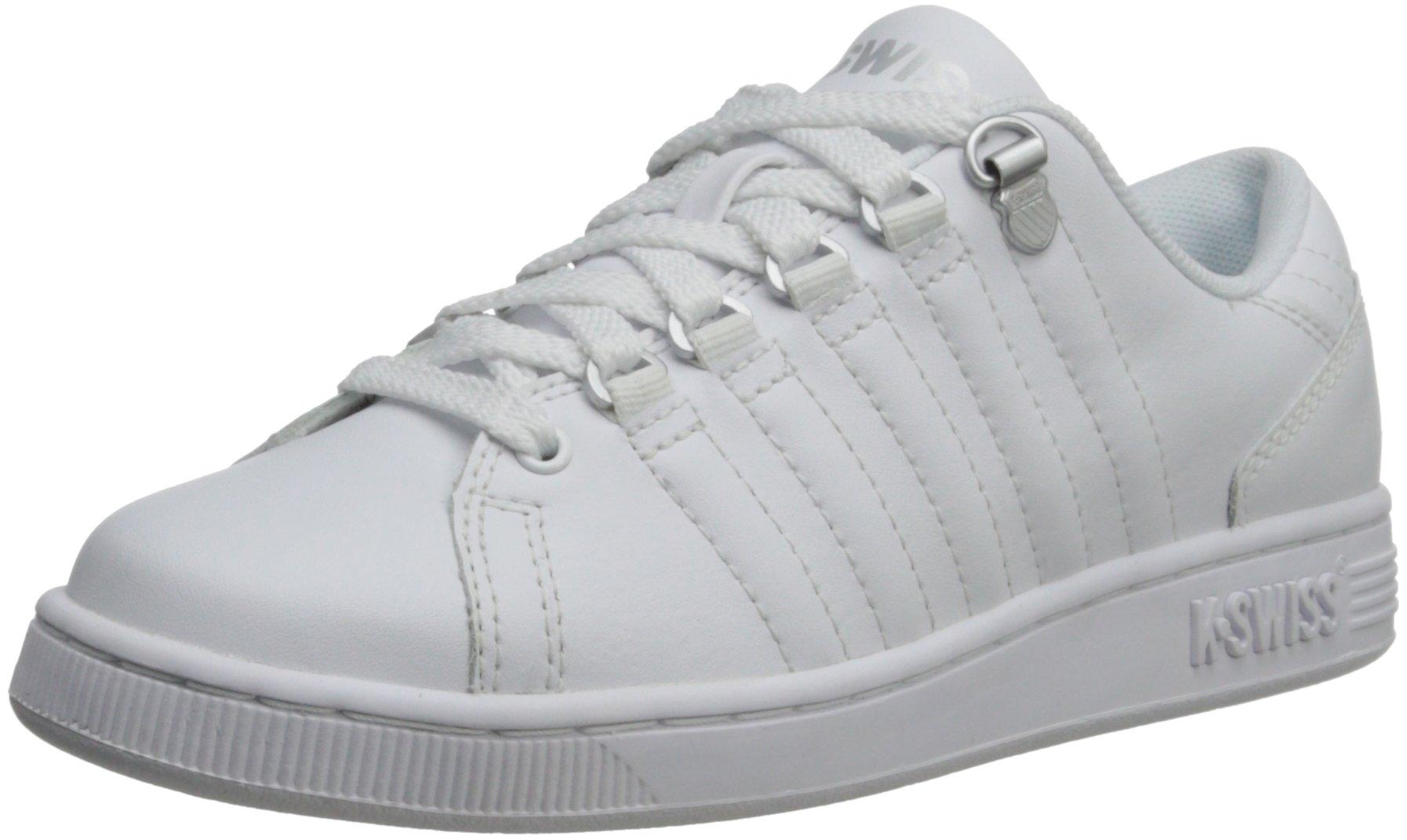 K-Swiss 8110 Lozan Sneaker (Big Kid),White/White/Silver,3.5 M US Big Kid by K-Swiss (Image #1)