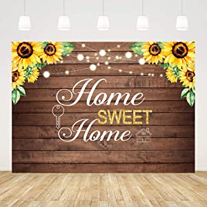 7x5ft Housewarming Backdrop Flower and Key Background for New House Party Decorations Rustic Housewarming Photography Home Sweet Home Banner Wood Background Photo Booth Wedding Cake Table Supplies