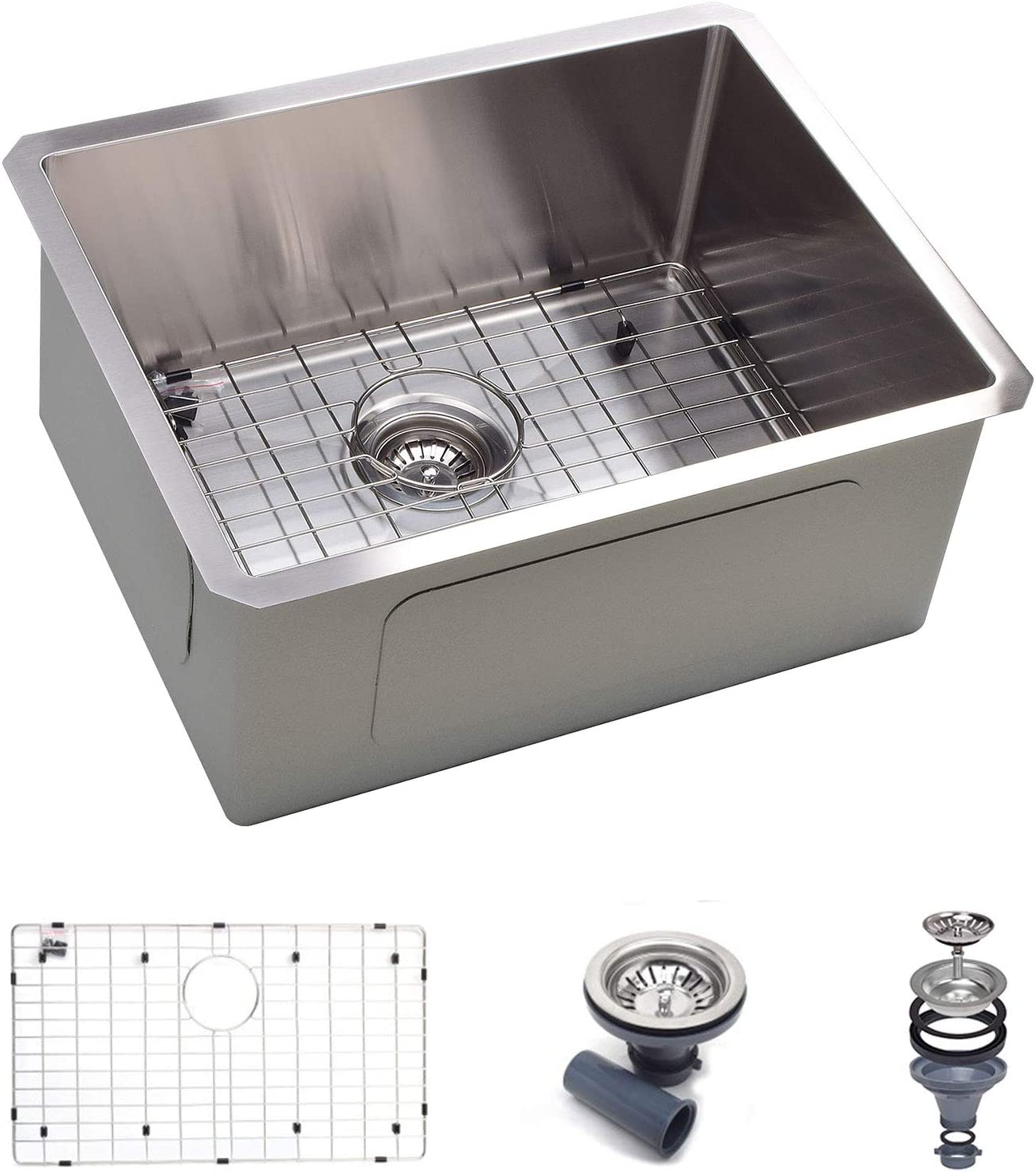 "Koozzo 23"" Undermount Kitchen Sink, Rectangular Single bowl, Stainless Steel,18 Gauge, Includes Strainer/Grid"
