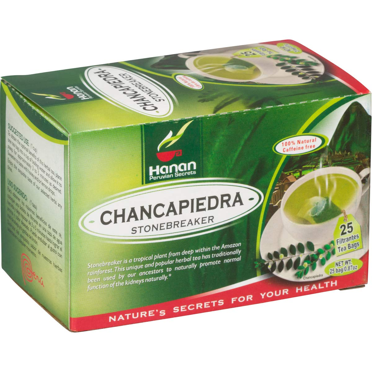 Chanca Piedra Tea - 25 Teabags - Peruvian Naturals |''Stonebreaker'' for Kidney, Stone and Urinary Health