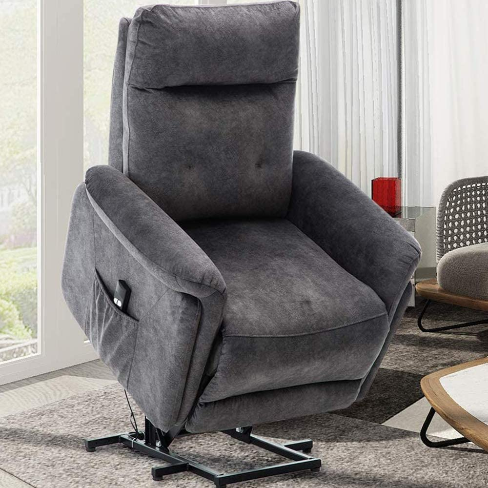 Power Lift Recliner Chair, Bonzy Home Overstuffed Electric Lift Chair for Elderly Cozy Short Plush Recliner Sofa for Living Room Bedroom - Grey