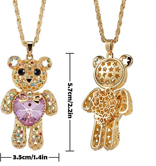"""Teddy Bear Charm Pendant Necklace Sparkling Crystal 17/"""" Chain Movable Parts"""