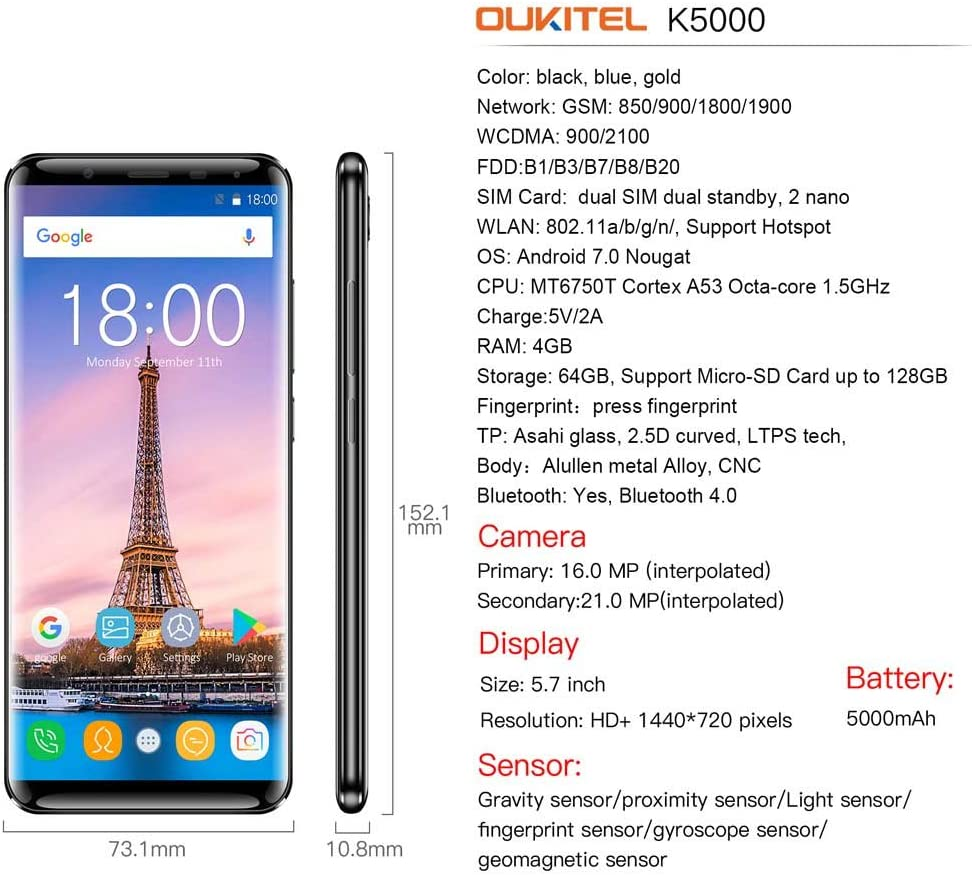 Oukitel K5000 Smartphone 4GB RAM 64GB ROM Pantalla 18:9 5,7 Pulgadas 2,5D 1440 x 720 Pixel MTK6750T 1,5GHz Octa Core Cámara 16MP & 13MP Batería 5000mAh Dual Nano SIM Android 7.0 Touch