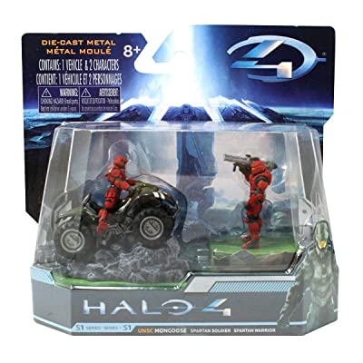 "HALO 4 Combat Edition: 2.8"" UNSC Mongoose with Red Spartan Soldier and Warrior.: Toys & Games"