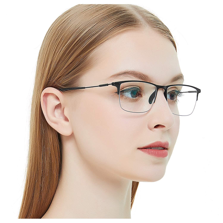 OCCI CHIARI Half Rimless Eyeglasses Non-Prescription Optical Glasses Fashion Eyewear Frame With Clear Lenses (Blue 52mm)