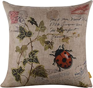 LINKWELL 45x45cm Seven-Spotted Ladybug Ladybird Insects Coccinella Septempunctata Green Leaf Linen Cushion Cover Pillow Case CC267