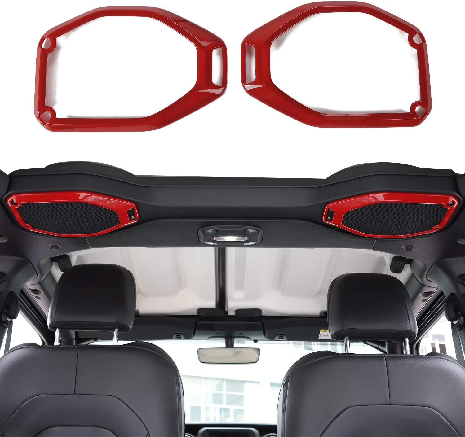 RT-TCZ Car Inner Top Roof Speaker Cover Trim Decor Ring for 2018 2019 2020 Jeep Wrangler JL JLU & 2020 Jeep Gladiator JT, for Jeep JL Interior Accessories(Red)