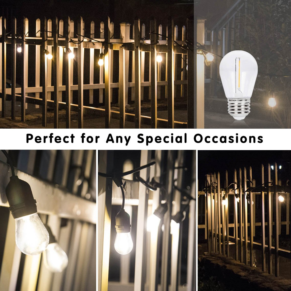 1W Non-Dimmable Bulbs Without String Strands 70 Lumens PC Cover EFFOE Waterproof S14 LED Bulbs E26 Base UL Listed S14-1W-ND-Warm-16P 16 Pack 2700K Warm White Light
