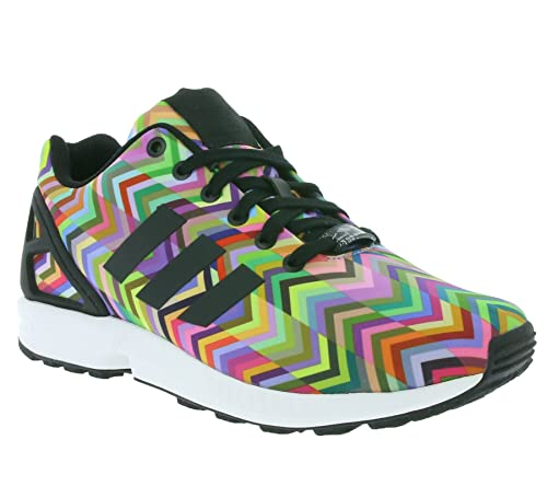 f5c2c85eb529f adidas ZX Flux Multi Coloured Weave Print Fashion Sneakers Trainers ...