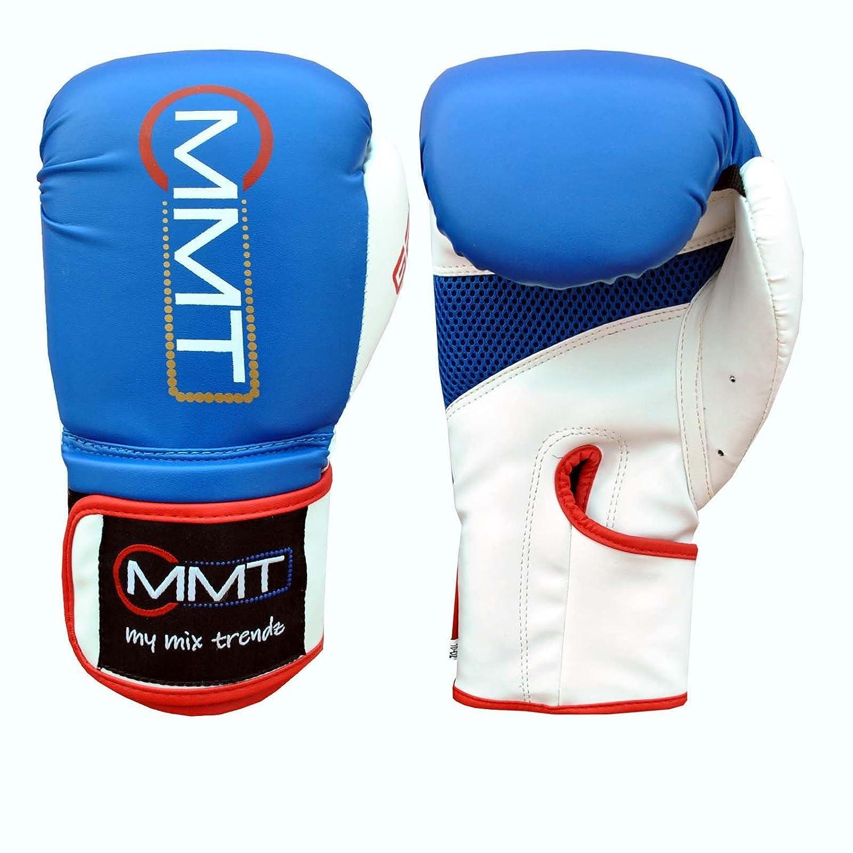 MyMixTrendz品質ボクシンググローブジェルスパーリンググローブ耐熱手袋トレーニングタイ式8 - 16オンス ホワイト/ブルー 14 oz
