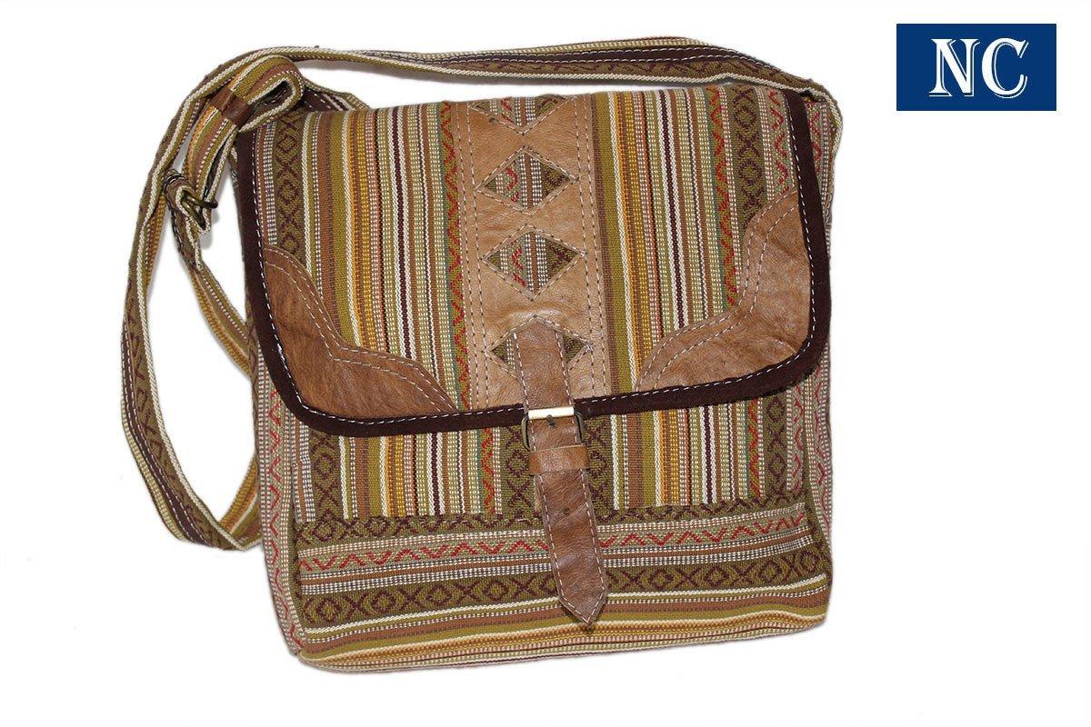 d0cd1225befb Amazon.com: Pure Cotton and Leather Unique Shoulder Business Bag ...
