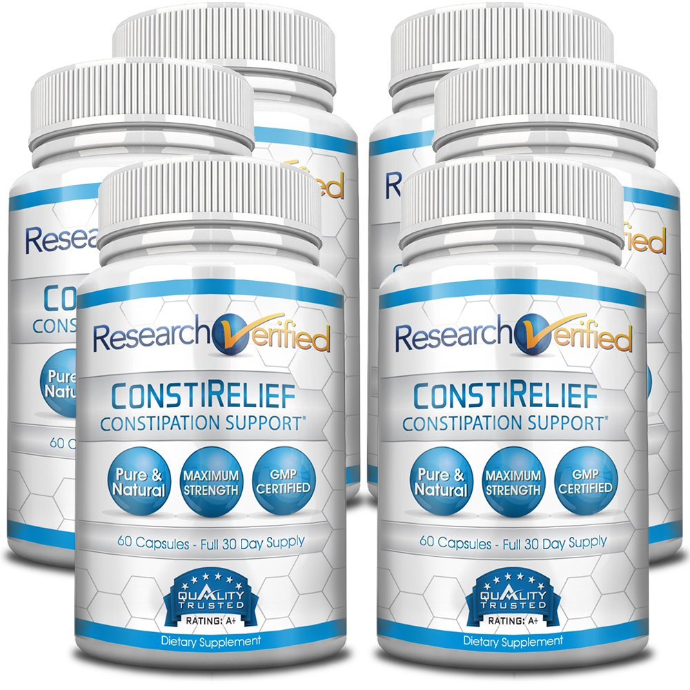Research Verified ConstiRelief (Pack of 6) - The best Supplement for Constipation Relief on the market - with L. Acidophilus for long term health and prevention. 100% back guarantee! by Research Verified