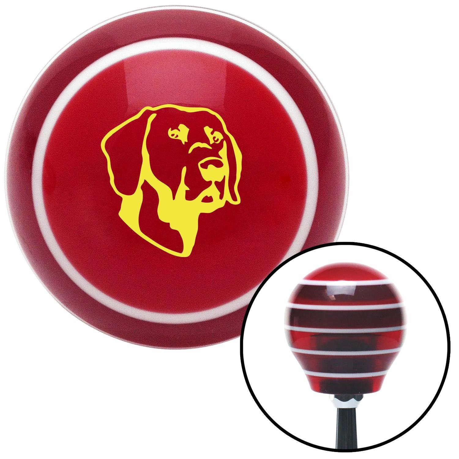 American Shifter 111451 Red Stripe Shift Knob with M16 x 1.5 Insert Yellow Dog