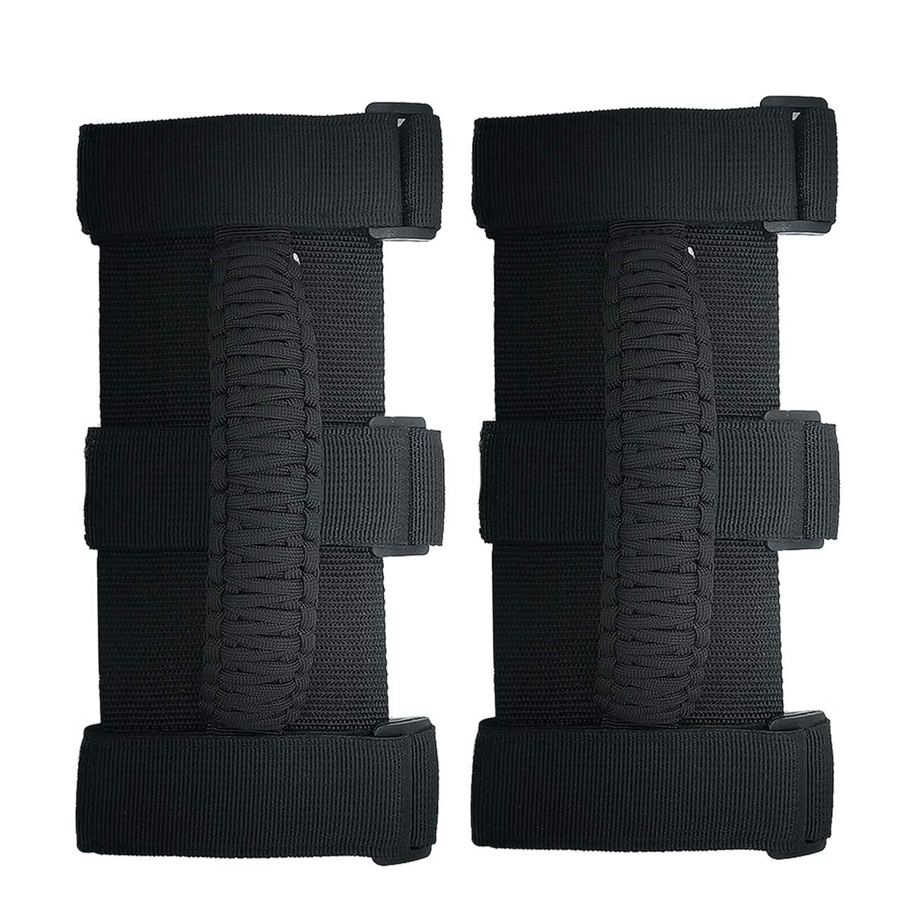 ROMASO 2Pcs Grab Handles for Jeep Wrangler Paracord Black//Olive