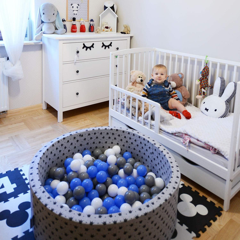 KiddyMoon 100 /∅ 7Cm Balles Color/ées Plastique pour Piscine Enfant B/éb/é Fabriqu/é en EU Baby Blue//Bleu//Perle