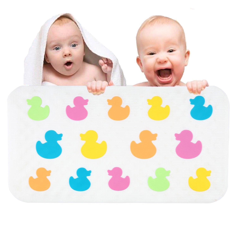 Aprice Bathtub Mat Baby Child Kids Non Slip Shower Bath Tub Mat Mildew Resistant Anti-Bacterial Duck