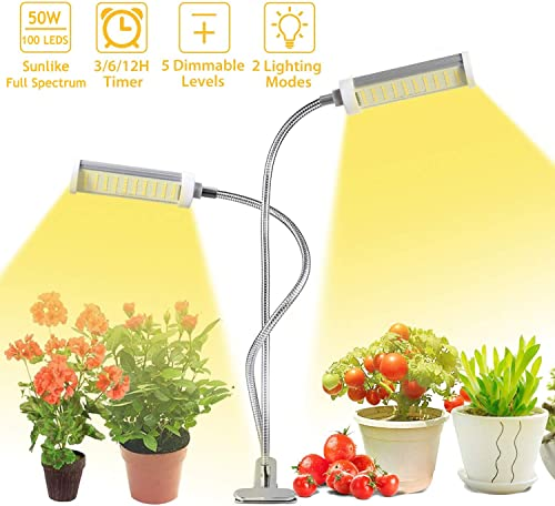 LED Plant Growth Light, 50W Indoor Sunlike Full Spectrum Grow Lamp, Dual Head Gooseneck Plant Light , Double Switch for Indoor Grow Light,Professional for Seedling Growing Blooming Fruiting.