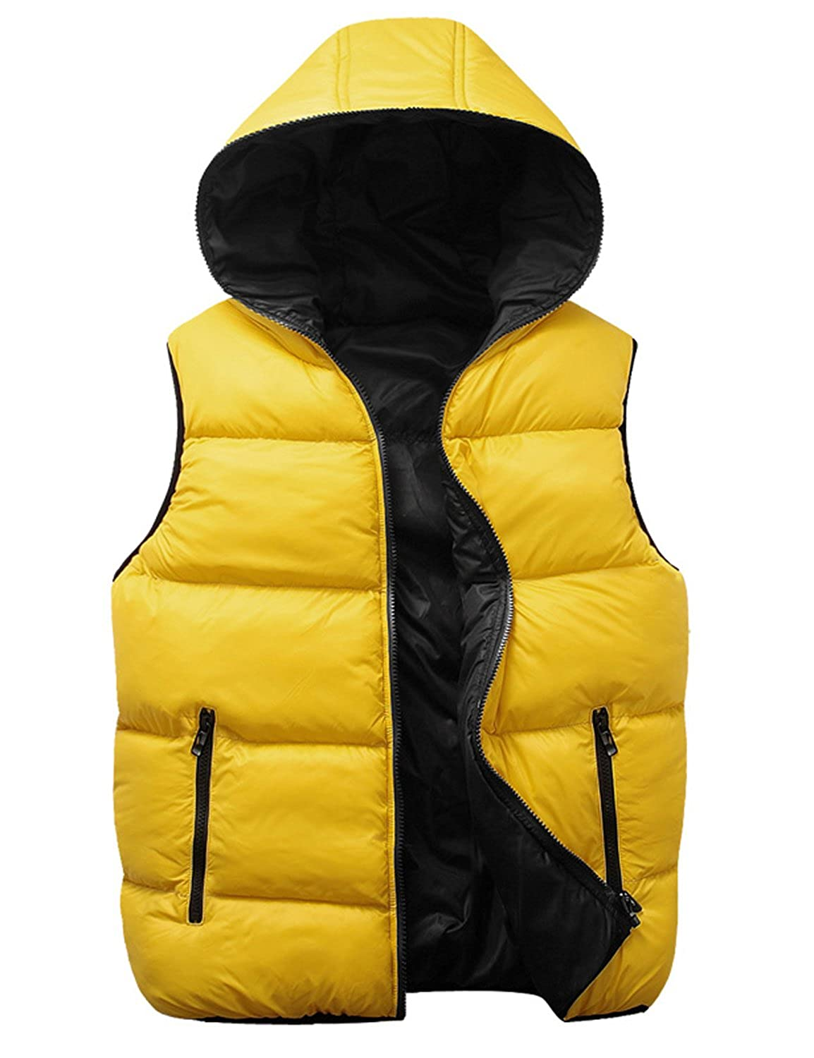 , Yellow L Only Faith Boys Autumn /& Winter Glazing Down-like Hooded Vest Couples Waistcoat chest:42.52