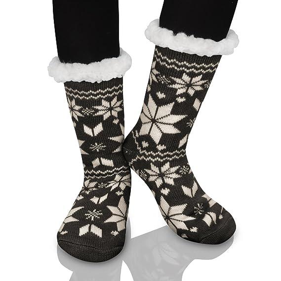 design intemporel d77b5 2bddb Femme Chaussons Chaussettes d'hiver Laine Pantoufle Chauds Douillets Thème  Noël avec doublure en polaire douce - antidérapantes