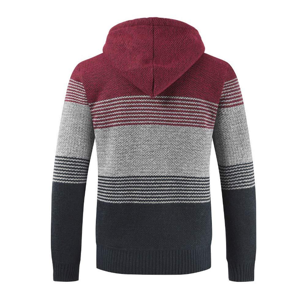 COOKI Mens Winter Color Block Zip up Sweater Hooded Jacket Warm Fleece Hoodie Outwear Coat Zipper Pockets