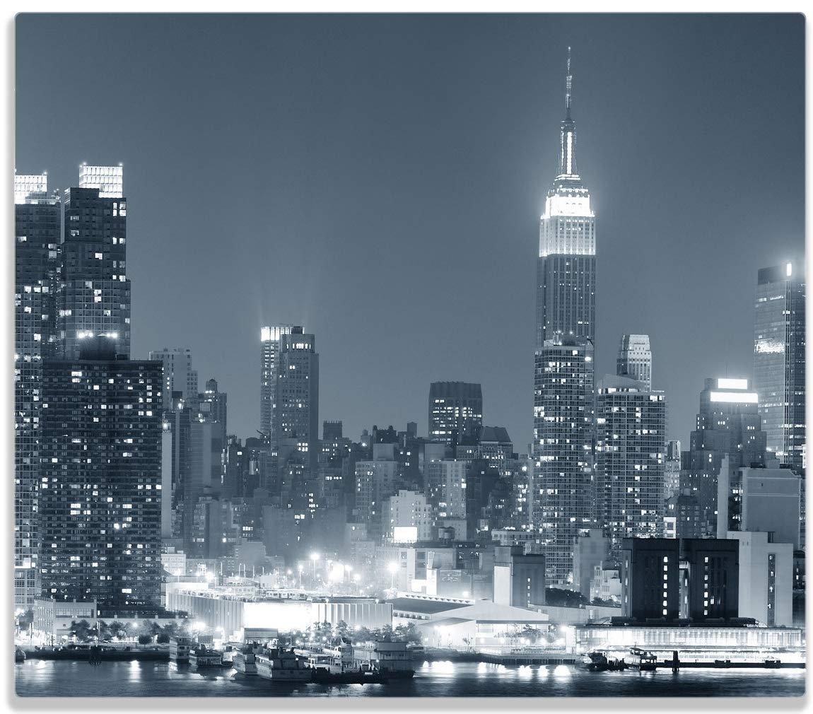 Wallario Herdabdeckplatte/Spitzschutz aus Glas, 1-teilig, 60x52cm, für Ceran- und Induktionsherde, New York Skyline - Schwarz Weiß Blau posterdepot