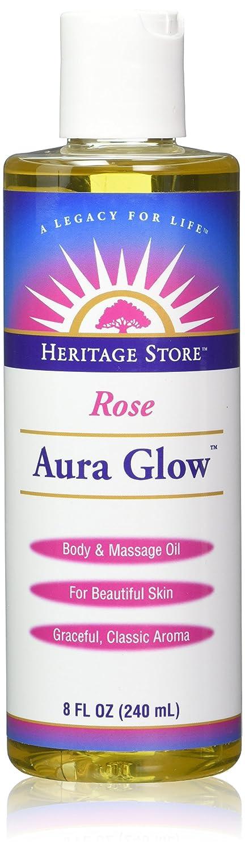 Aura Glow Massage Oil-Rose - 8 oz - Liquid Heritage Store 11032