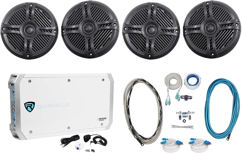 """(4) Rockville RMSTS65B 6.5"""" 1600w Marine Boat Speakers+6-Ch Amplifier+Amp Kit"""