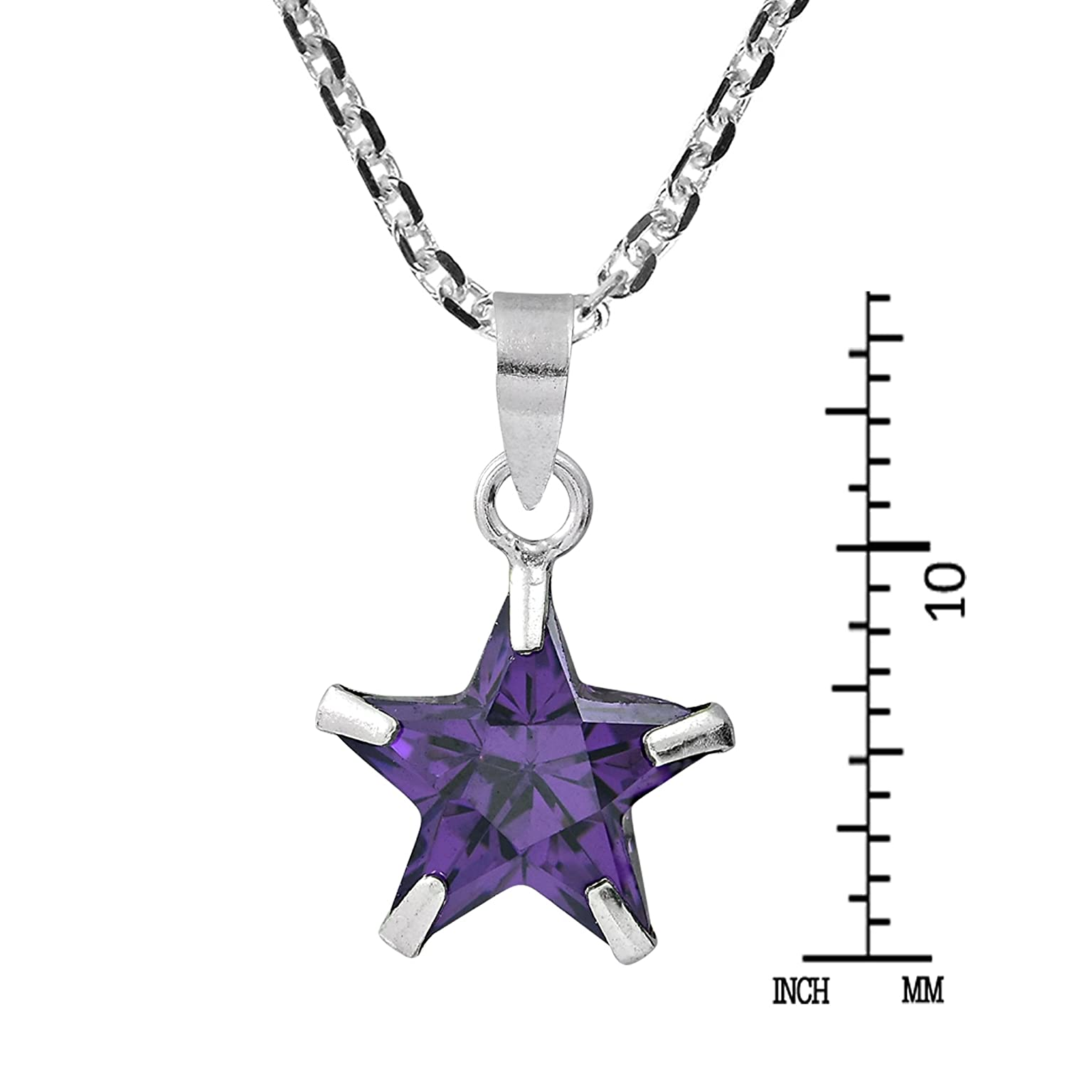 AeraVida Wish Upon a Star 10 mm Purple Cubic Zirconia .925 Sterling Silver Pendant Necklace