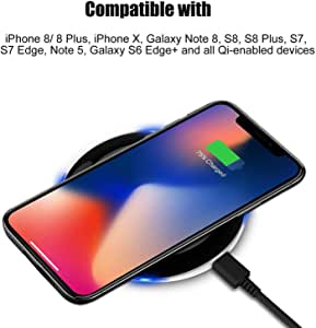 قاعدة شحن لاسلكية Qi لهاتف iPhone X 8 Plus 8، Samsung Galaxy Note 8، S8، S8 + S8 Plus، S7، S7 Edge، S6 Edge/Edge Plus، Note 5