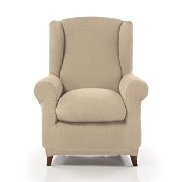 Beige) - Homescapes Winged Iris Armchair Cover Elastic ...