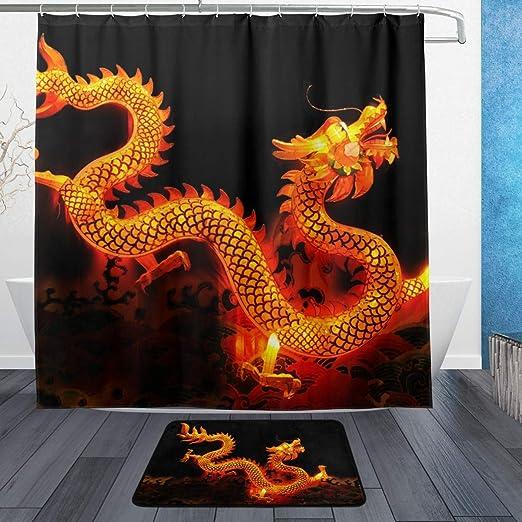Chinese Dragon Bathroom Decor Waterproof Fabric Shower Curtain Liner Doormat Rug
