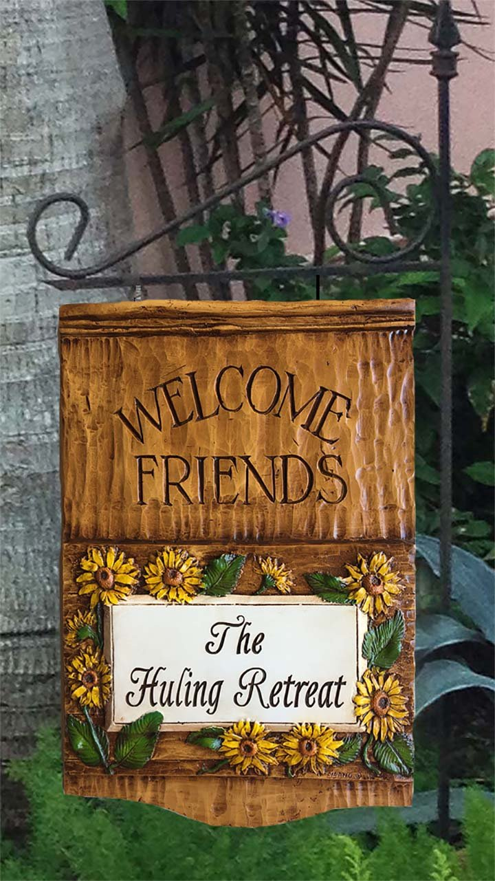Amazon.com : Sunflower Welcome Friends Personalized Hanging Yard ...