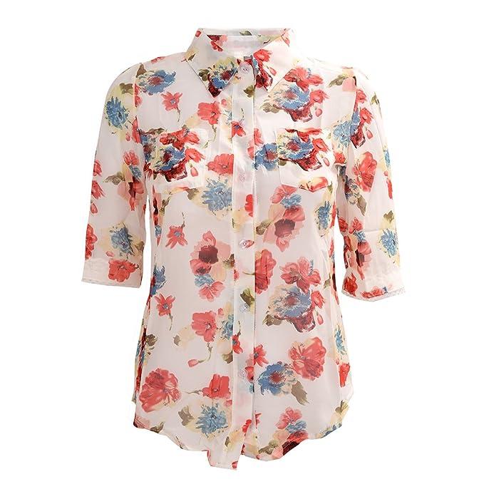 SODIAL Tops Blusas de Moda Para Mujeres Camisa Elegante Oficina Clasica Suelta Impresa de Gasa Casual