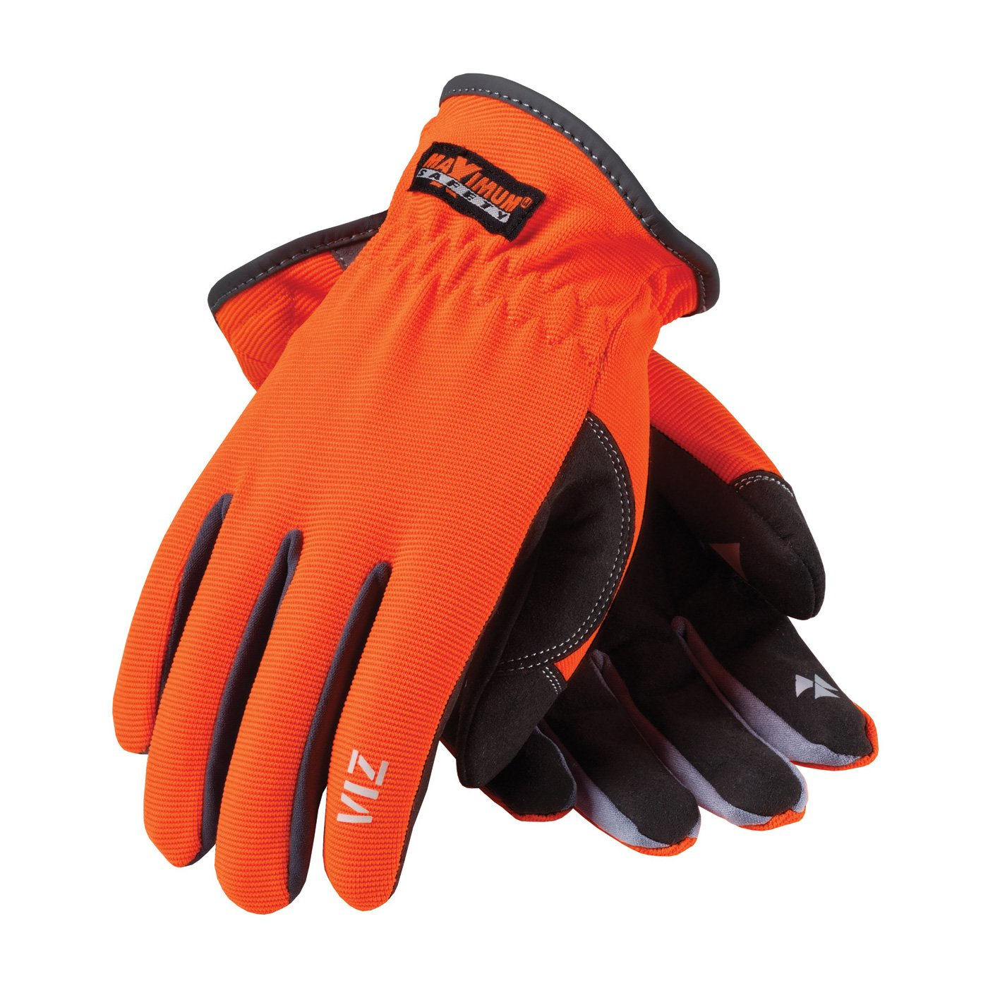 Maximum Safety 120-4600/L  Professional Workman Gloves with Synthetic Leather Palm and High-Visibility Back, Orange/Black, Large