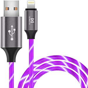 LED iPhone Charger Cable - MFi Certified 6.5ft/2m Light Up Visible Flowing Lightning Charger Charging Cord Compatible with iPhone12 11 Pro Max XS XR X 8 7 6S 6 7Plus 5S 5,iPod Touch More(6.5ft,Purple)