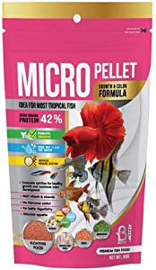 A.D.P. Fish Booster Pink Tropical Fish Food Micro Floating Pellet, Grow Faster & Color Enhancing High Protein 42% for Goldfish & All Aquarium Small Fish 60 g Newborn Fry Fish Feed Breeding Fish Care