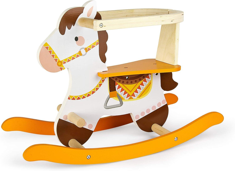 Leomark Caballo balancín de Madera - Mecedora de Juguete para Niños Bebé, con Anillo Protector (Frank)