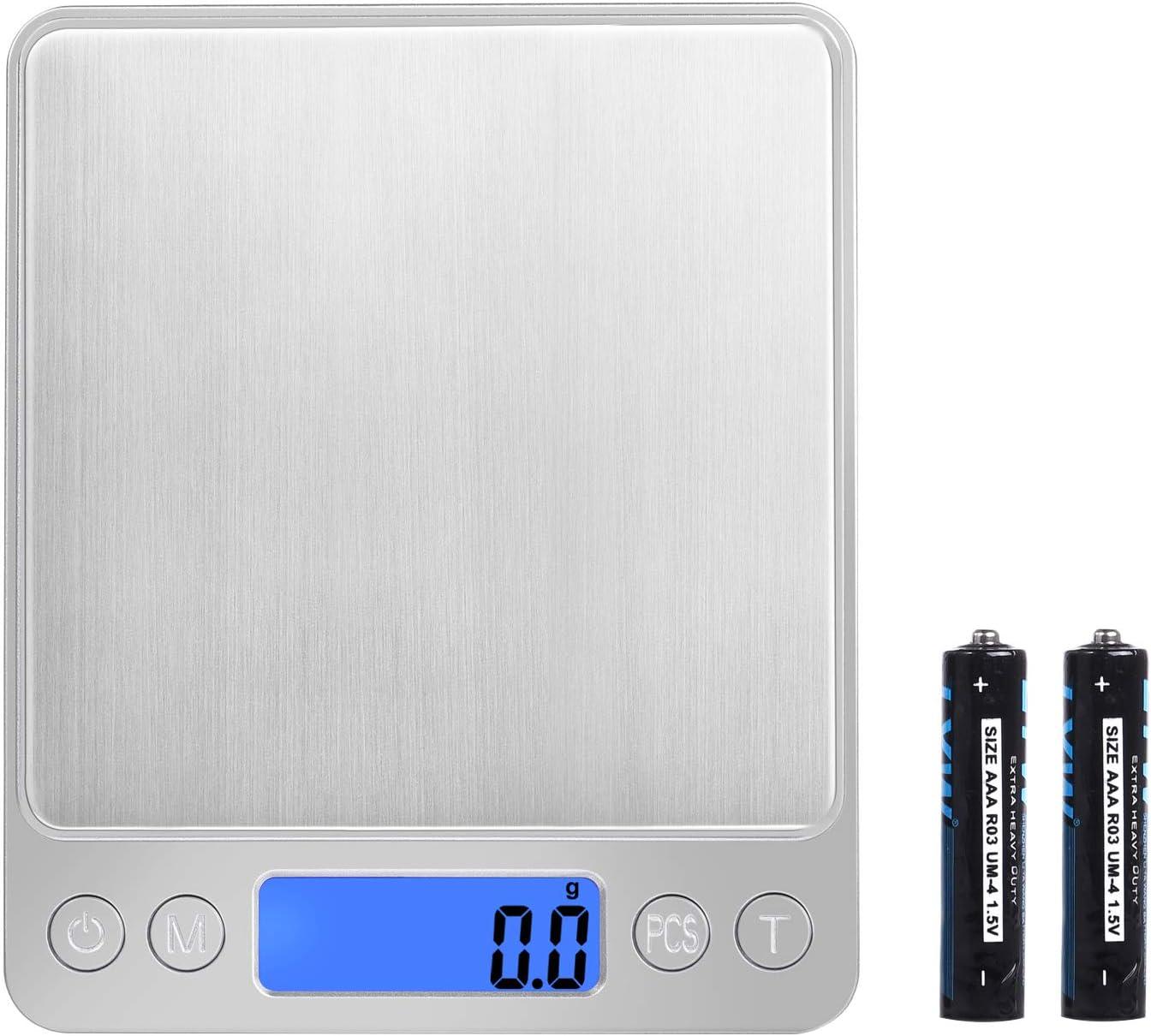 Mini Báscula de Precisión 0.1-3000g Peso Báscula de Gramos Digital de Bolsillo 6 Unidades Luz de Fondo y Apagado Automatico con 2 Platos para Cereales Ingredientes Cocina Joyería