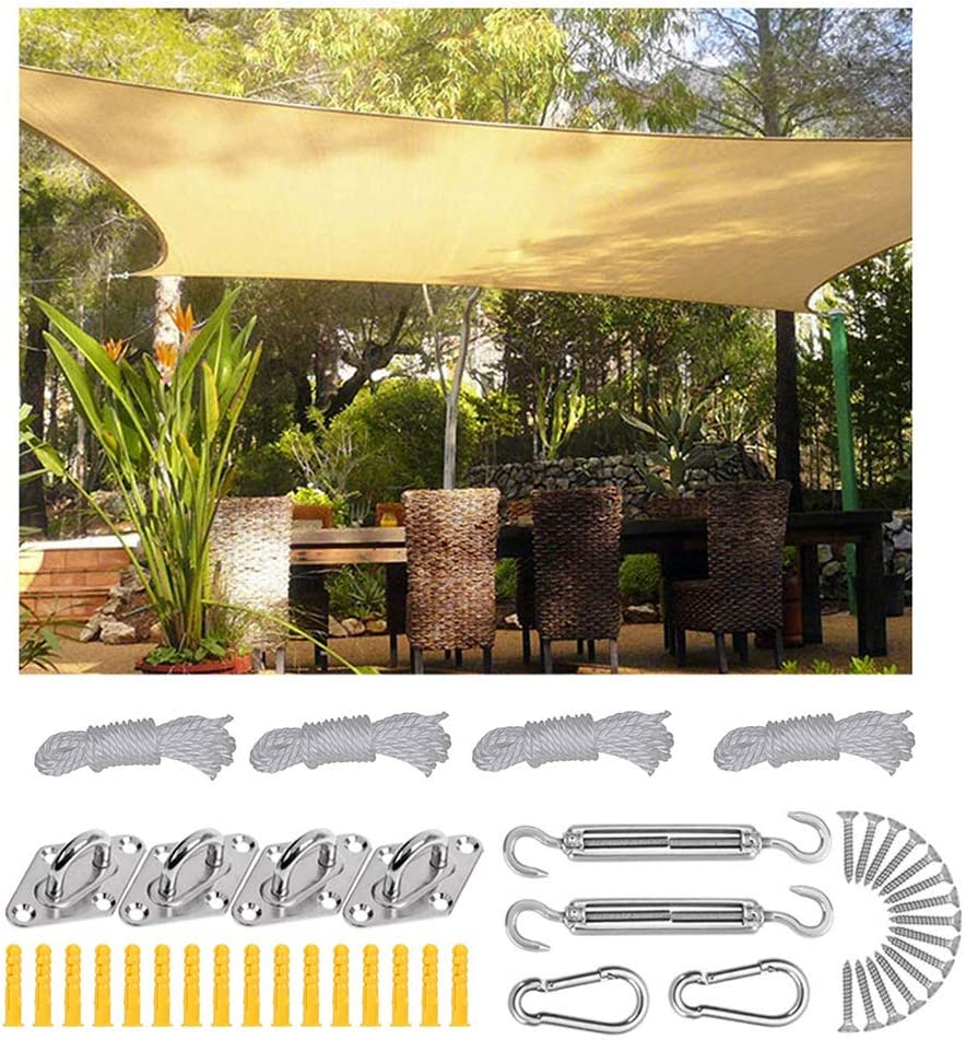 XLINGZ Rectangular Toldo y Transpirable Pergola Kit Exterior - Beige 5.5x5.5m: Amazon.es: Hogar