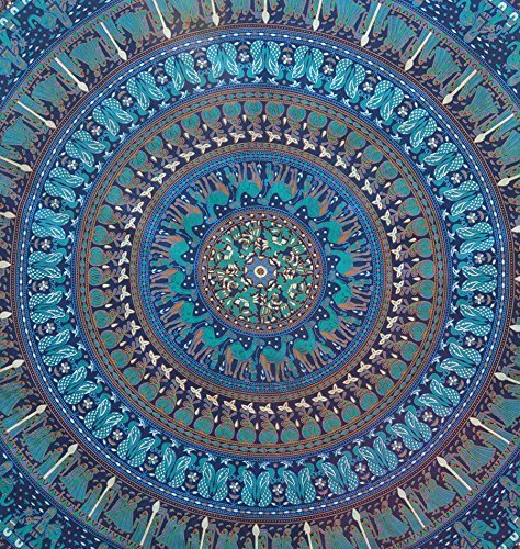 Aunercart Blue Hippie Mandala Bohemian Psychedelic Intricate Floral Elephant Design Indian Bedspread Magical Thinking Tapestry