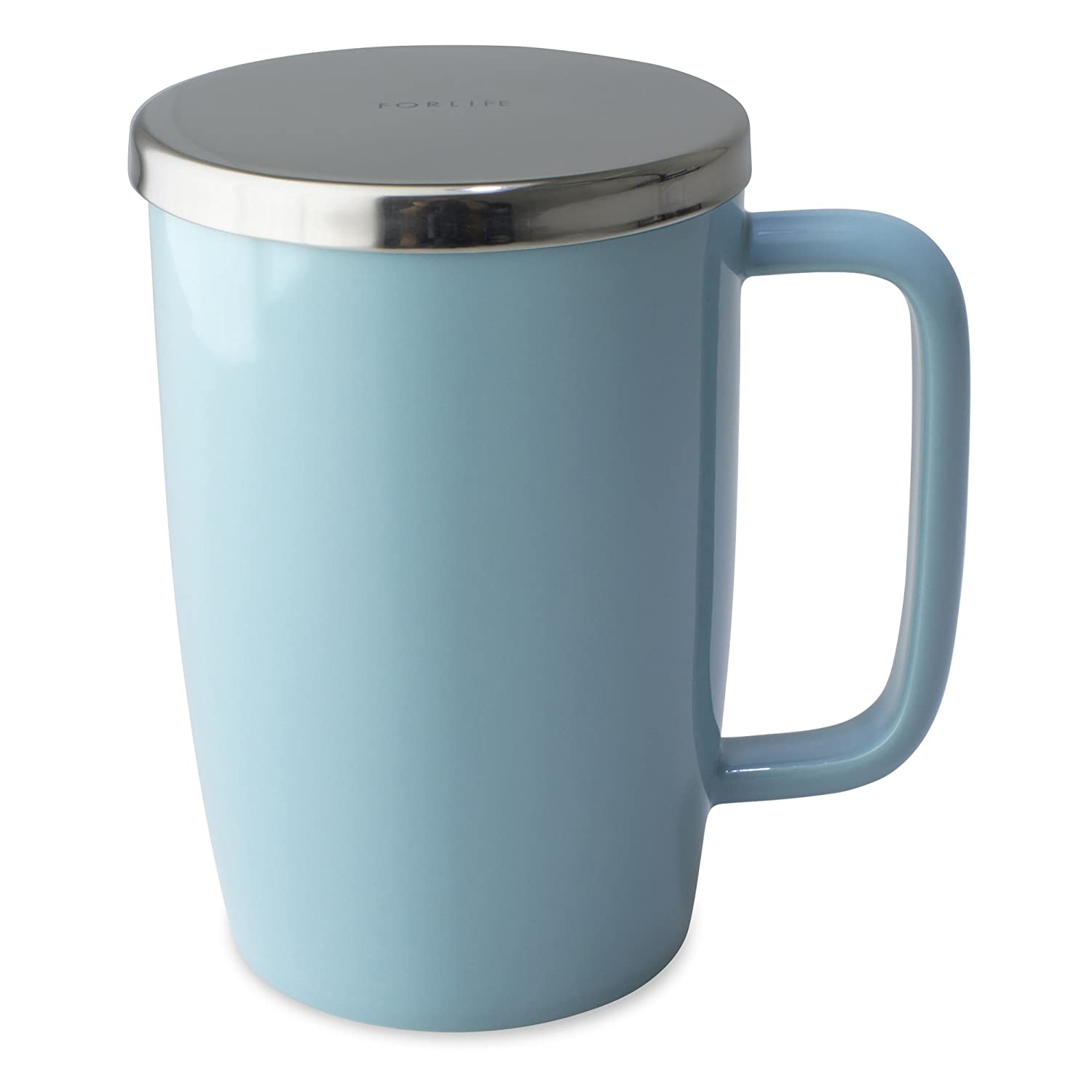 FORLIFE Dew Glossy Finish Brew-In-Mug with Basket Infuser /& Mirror Stainless Lid 18 oz. Turquoise