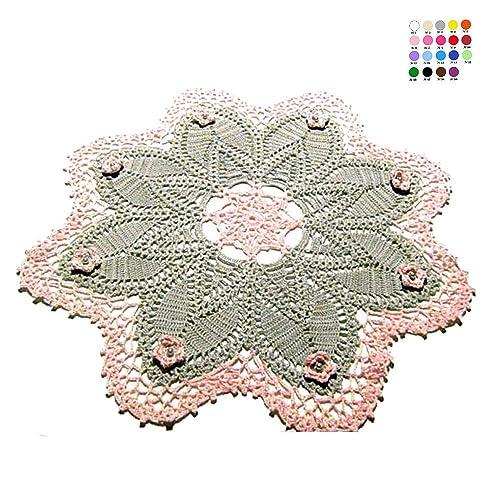 Tapete grande gris y rosa de ganchillo en algodón - Tamaño: ø 45 ...