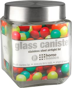 Home Basics Medium 40 oz. Square Glass Canister Jar Container Fresh Sealed with Air-Tight Stainless-Steel Twist Top Lid for Kitchen Pantry Food Storage Organization, Clear
