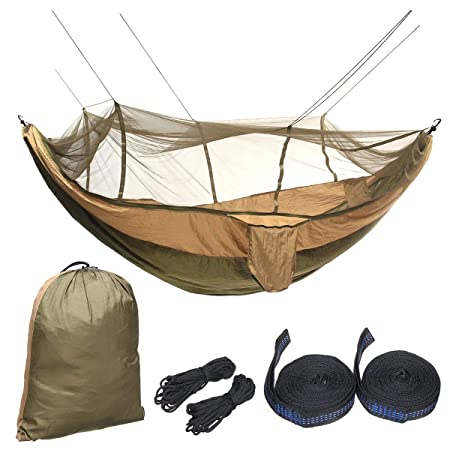 Bloomerang Outdoor 2 People Double Hammock Camping Tent Hanging Swing Bed with M