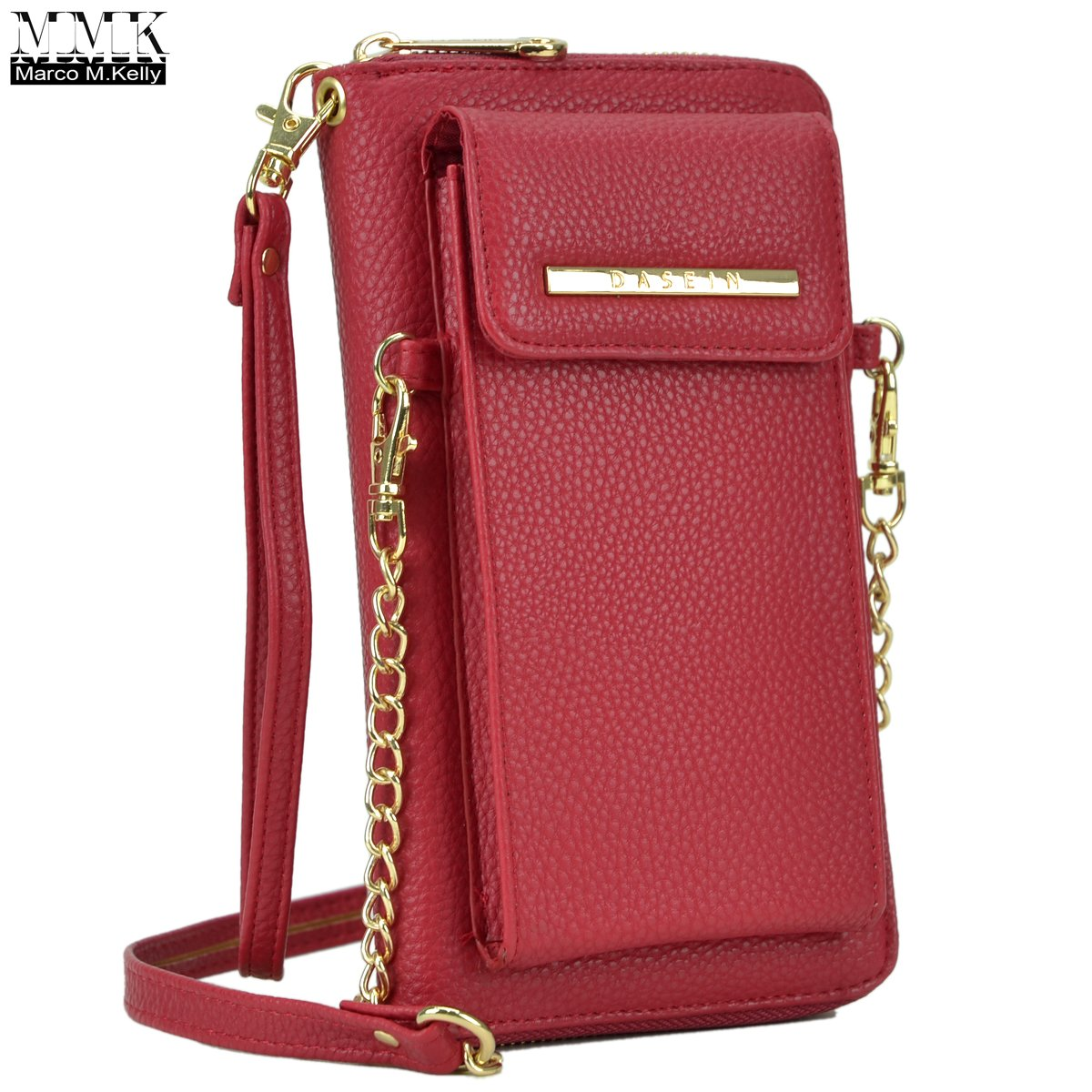 MMK Collection Easy-To-Carry Small Size Women Crossbody Wallet, Organizer pouch, with Phone case and Detachable Chain Strap(3020) (MA-3020-RD)