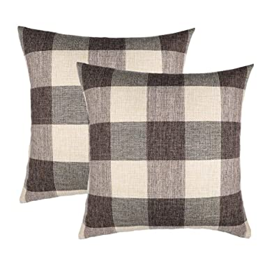 4TH Emotion 20x20 Brown Grey Buffalo Check Plaids Throw Pillow Case Cushion Cover Holiday Decor Cotton Linen for Sofa Set of 2