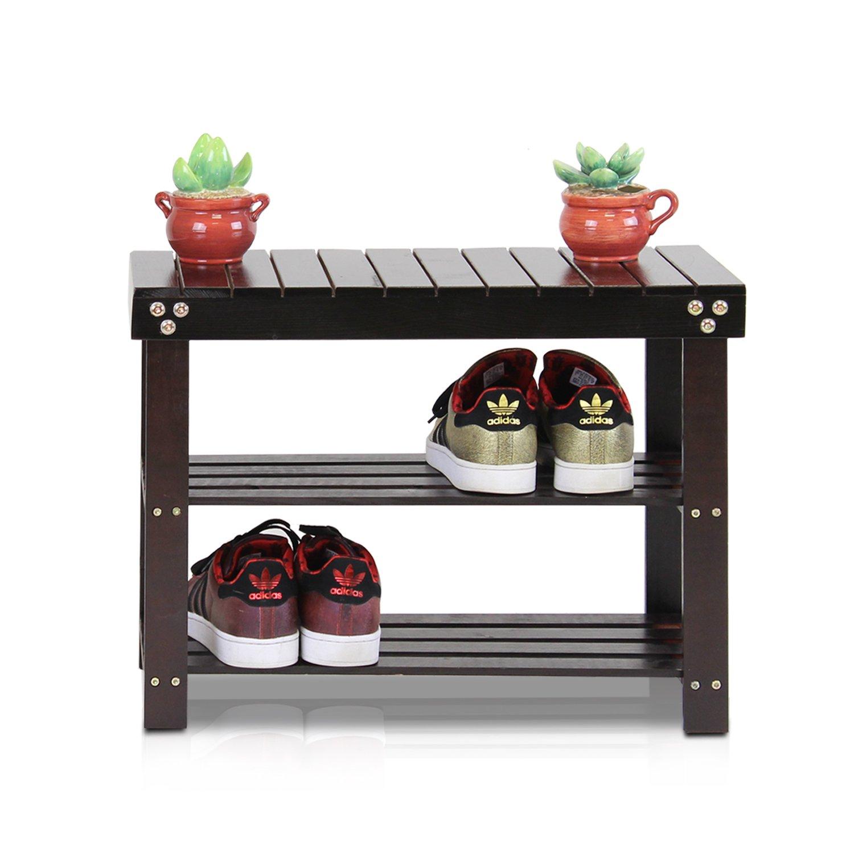 Espresso Furinno Pine Solid Wood Shoe Rack