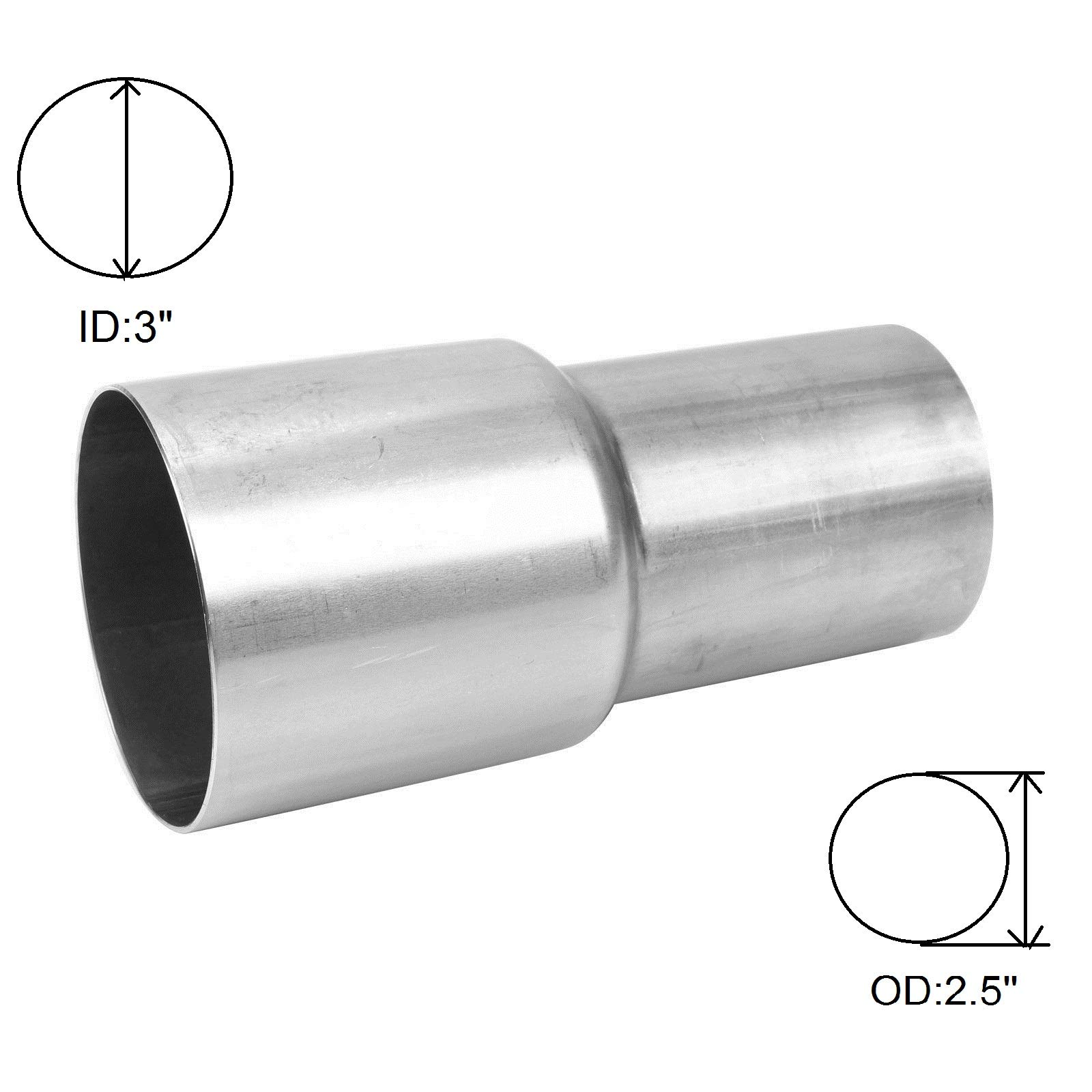 yjracing Universal 3'' ID to 2.5'' OD Exhaust Pipe Adapter Connector Reducer Stainless Steel